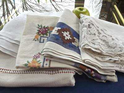 5pcs Lot Antique Shabby Chic Linen Card Tablecloths As Is Cutup Crafts Laundered