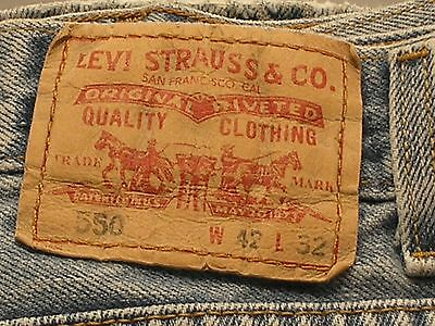 Levi's Mens 550 Relaxed Fit Denim Blue Jeans Size 42 X 32