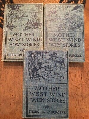 Lot of 3 Antiquarian MOTHER WEST WIND'S Books EARLY 1900's BURGESS Presumed 1st