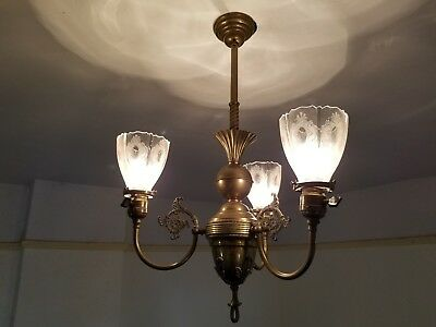 Antique Victorian Era Brass 3 Light Ceiling Chandelier