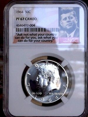 """1964 Kennedy Half NGC PF 67 Cameo * Price Guide $80 """"Ask Not"""" Label *"""