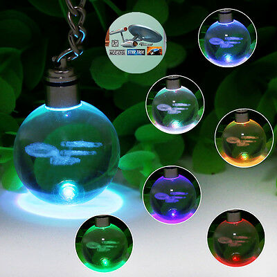 Star Trek USS Enterprise 3D Crystal LED Night Light Key Ring Chain Creative Gift