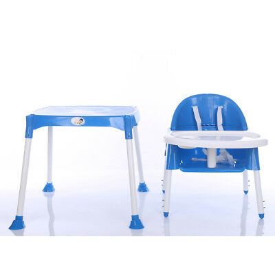 US Adjustable Baby High Chair Infant Toddler Feeding Booster Seat Folding Blue