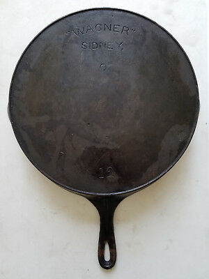 Antique Wagner Sidney O Cast Iron Skillet # 12 Heat Ring Arch Logo HTF Rare USA