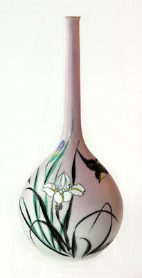 Japanese Meiji sharkskin vase in shaded pale pink with iris and birds [11564]