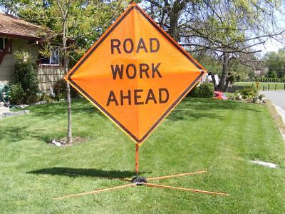 "Road WORK AHEAD Collapsible Construction Sign & Base 48"" x 48"""