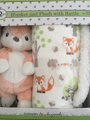Blankets & Beyond Adorable Blanket and Plush with Fox Rattle Set. Great Gift