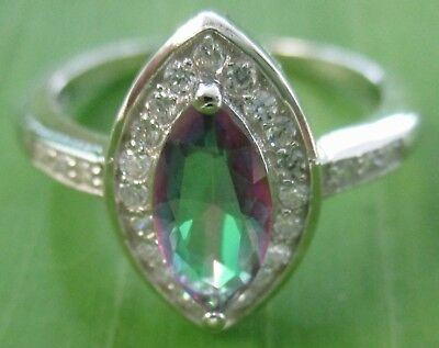 100% 925 sterling silver Micro Setting Mystic Topaz  Women ring size 5.5 -  9