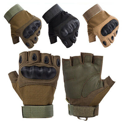 Carbon Fibre Tactical Hard Knuckle Half Finger Gloves Men Special Ops Fingerless
