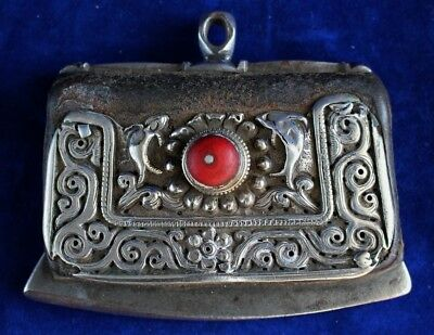 Antique Tibetan Silver & Coral Set Flint Pouch & Striker (Strike a Light) c.1895