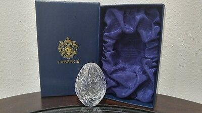 Signed Faberge Clear Crystal Glass Egg In Presentation Box