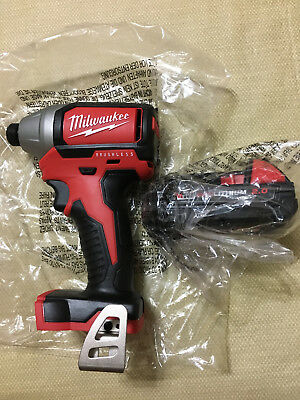 """NEW Milwaukee M18 1/4"""" Hex Brushless Impact Driver 2750-20 with New Battery"""