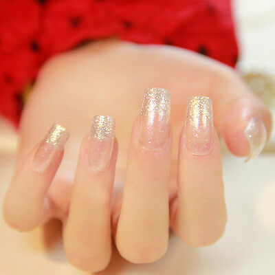 24pcs Popular Glitter Acrylic Nails Square Full French False Nails for Daily