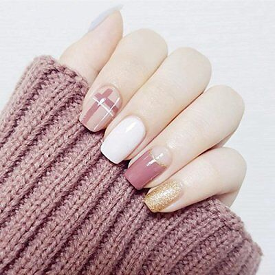 24Pcs Glitter Gold White Pink Simple Short Full Cover False Nail For Club Office