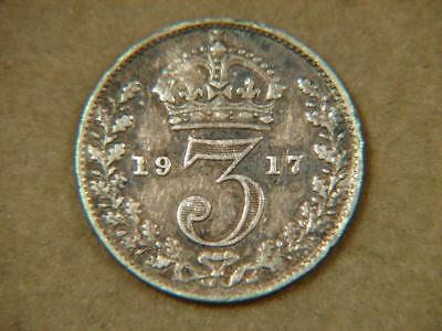 1917 Great Britain 3 Pence Silver Coin