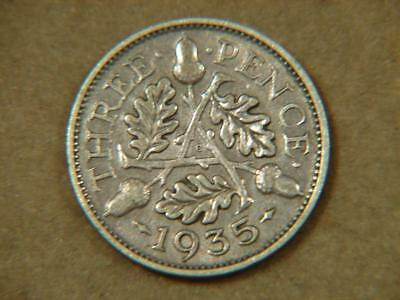 1935 Great Britain 3 Pence Silver Coin