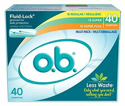 o.b. Applicator Free Digital Tampons Regular Super and Plus Multi-Pack 40 Count