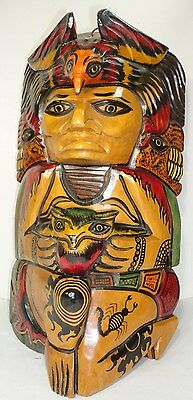 Aztec Eagle Warrior Hand carved Wood Mask vintage.Mexican Folks Art wall plaque