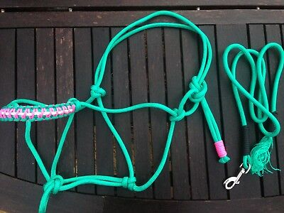 Rope halter and lead set, turquoise/green, CHOICE OF SIZE, handmade, soft
