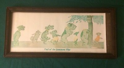 Vintage Wood Frame Picture/Man Cave/Dogs/Bathroom