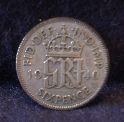 1940 Great Britain silver 6 pence, George VI war time mintage, KM-852 (GB3)