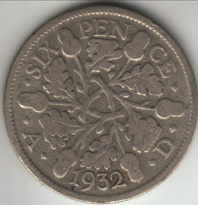 1932 Great Britain silver 6 pence, scarcer year of the type, KM-832