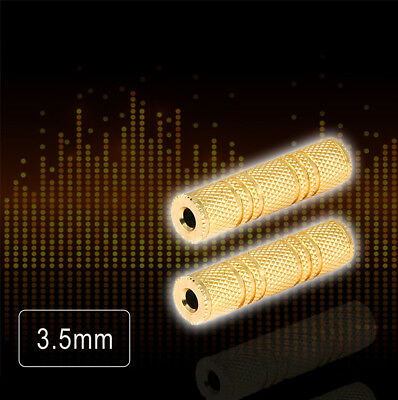 """3.5mm 1/8"""" Aux Stereo Female to Female F/F Gold Audio Coupler Adapter Jack New"""