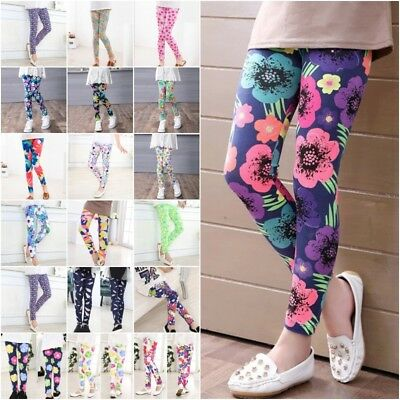 Kids Girls Colorful Skinny Leggings Floral Casual Stretchy Pants Trousers 2-14Y