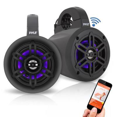 "Pyle Bluetooth Black Waterproof Marine Wakeboard Tower LED 4"" Speakers (Pair)"