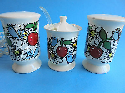 Retro Blue Birds And Cherries Salt And Pepper Shakers Cruet Set Original Stand