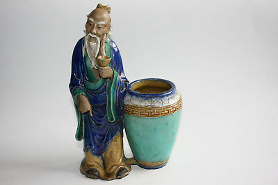 Large Old Chinese Porcelain Pottery Carved and Painted Old Man w/ Pot Figurine