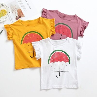 Newborn Infant Baby Kid Girl Short T-Shirt Blouse Casual Short Sleeve Top Outfit
