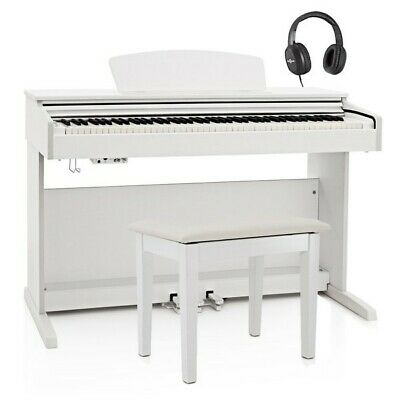 DP-10X Digital Piano by Gear4music + Piano Stool Pack White