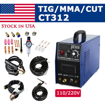 CT312 3IN1 Welding machine TIG/MMA/Plasma cutter welder & torches & accessories