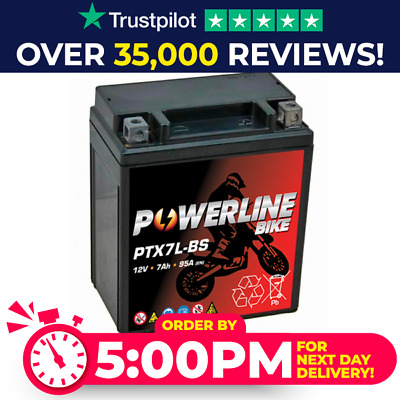 PTX7L-BS Powerline Bike Motorcycle Battery Replaces YTX7L-BS