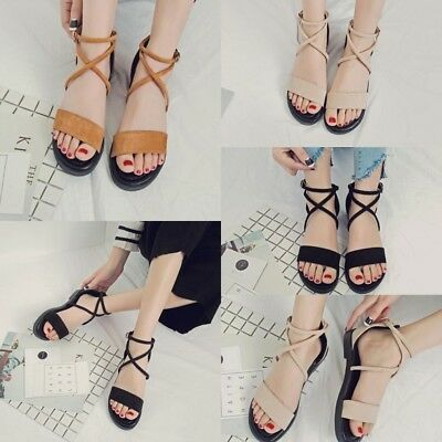 e16ca8d93d Ladies Flat Shoes Lace Ankle Strap Tie up Flops Boho Sandals Summer Beach  Size