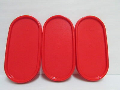 3 New Tupperware Modular Mates Oval Lid Chili Red Replacement Seal Cover MM 1616