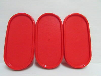 3 Tupperware Modular Mates Oval Lid Chili Red Replacement Seal Cover MM 1616 New