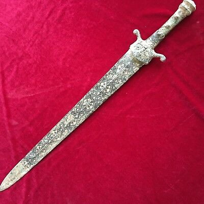 antique     Bronze sword with engraved pattern in ancient China.