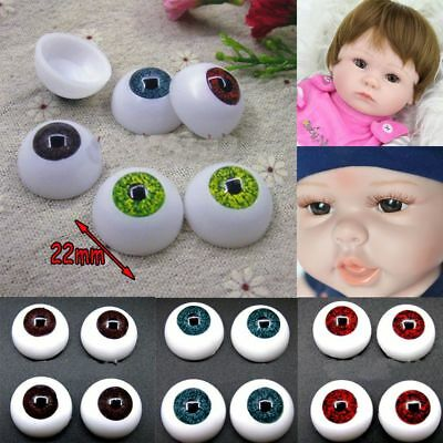 4Pair 22mm Doll Stuffed Doll Eyeball Half Round Acrylic Eyes for Doll Bear Craft