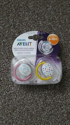 2 Philips Avent Baby Freeflow Soother Dummy Pacifier 6-18 Months