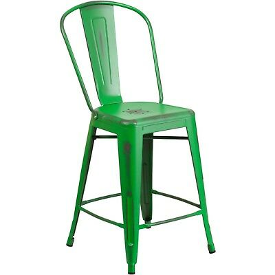 "24"" High Distressed Green Metal Indoor-Outdoor Counter Height Stool with Back"