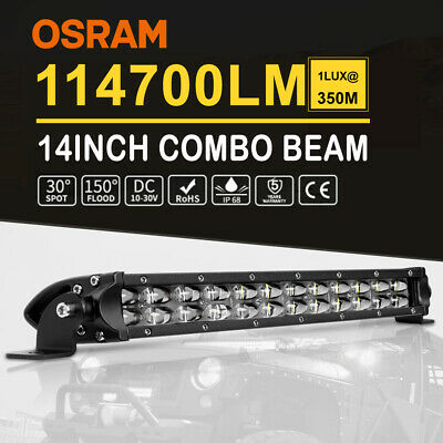 """Curved 52"""" INCH 3 Row LED Light  Bar Spot Flood Combo Amber Offroad +Wiring 50"""