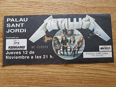 METALLICA  entrada ticket Live in Barcelona 1992 PALAU SANT JORDI ORIGINAL