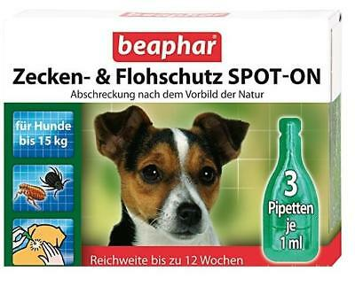 Beaphar Bio Spot On Flea and Tick Treatment Small Dogs to 15kg 3 mths 3 pipettes