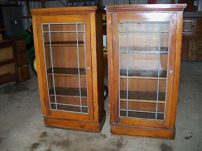 Antique Bookcase Leaded Glass pair