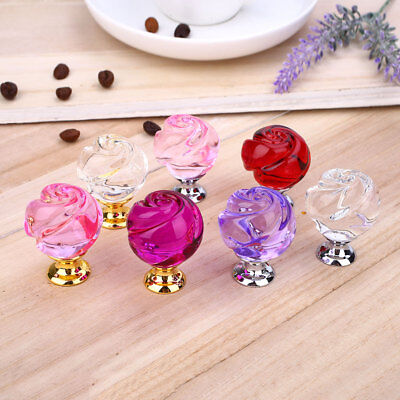 30MM Crystal Rose Door Knobs Wardrobe Cupboard Cabinet Handle Pull Home Decor