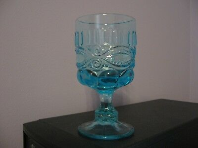 Mosser Glass  Eyewinker Auqa Blue Footed Goblet ~ USA