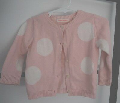 COUNTRY ROAD baby girl pink polka dot cotton cardigan sz 0 6-12 months