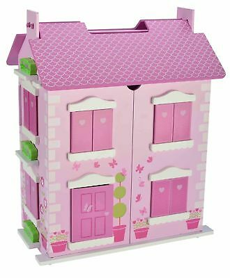Children kids Bubbadoo Pastel Dollhouse Wooden Doll Playhouse Toy for Girls